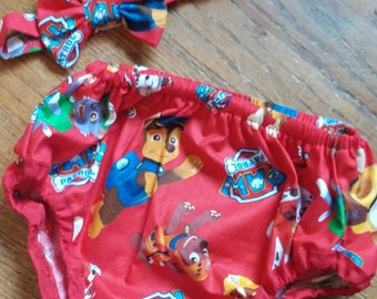 Paw Patrol Themed Diaper Cover with Bow TIe