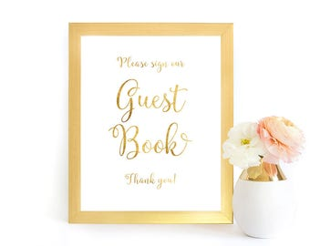 Guest Book Sign, Guest Book Printable, Guest Book Wedding Sign, Faux Gold Foil Wedding Sign, Wedding Sign, GFWF, INSTANT DOWNLOAD