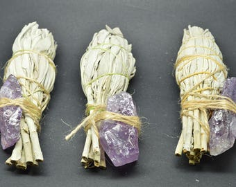 Smudge Kit California White Sage & Amethyst Rough - WSAME02
