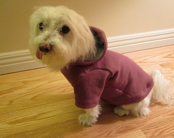 Dog clothing - Dog Pullover Hoodie in plum (size S)