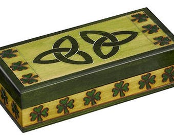 Celtic Knots and Shamrocks Wooden Box Hand Crafted