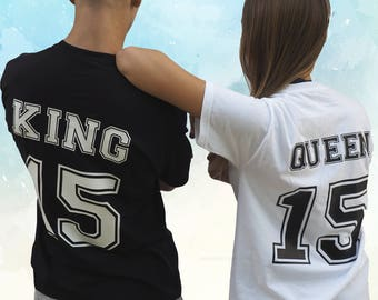 King Queen tees, KING QUEEN shirt, couple t shirt, gift for couple, couple set shirts, gift for him, gift for her, gift for my baby