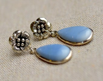 Owyhee Opal Earrings. Sterling Silver. Sky Blue Opal. Posts Gemstone Earrings. October birthstone. Flower Posts. Silversmith. Fine Jewelry.