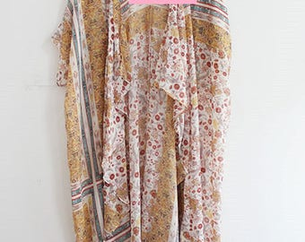 Long Kimono with Flower Print