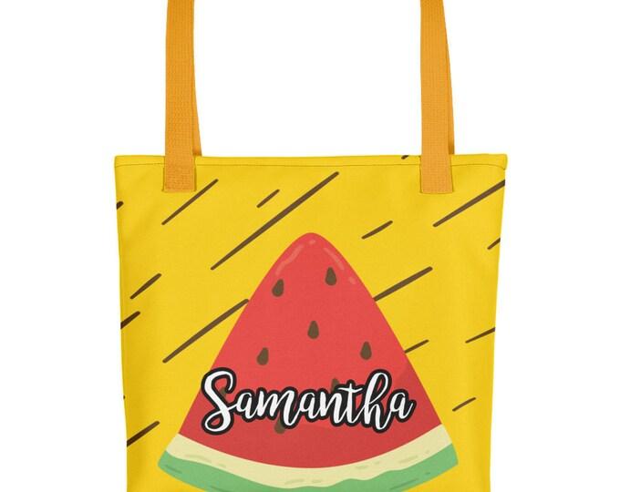 Custom Name Watermenlon Print Tote bag   Personalized Tote Bags   Custom Tote Bags   Personalized Bags   Summer Tote Bag   Cute Summer Bag