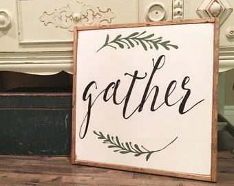 Gather Sign 2'x2', Gather, Gather Wood Sign, Farmhouse Decor, Farmhouse Sign, Large Gather Sign, Home Decor, Kitchen Decor, Wood Sign.