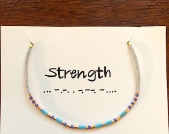 """Morse Code """"Strength"""" Bracelet"""