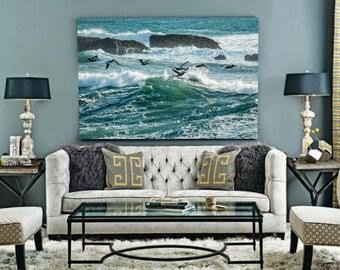 Ocean Print, Ocean Wall Print, Ocean Wave Wall Print, Birds Print, Birds Wall Print, Beach Decor, Wave Wall Art Print, Coastal Printable Art