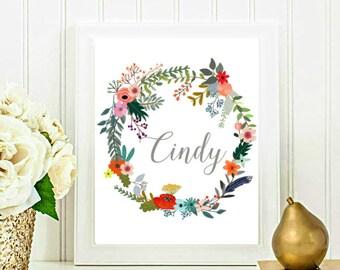 Custom Printable, Floral Wreath Name Print, Custom Name Print, Nursery Art, Personalized Print, 8x10 Digital download