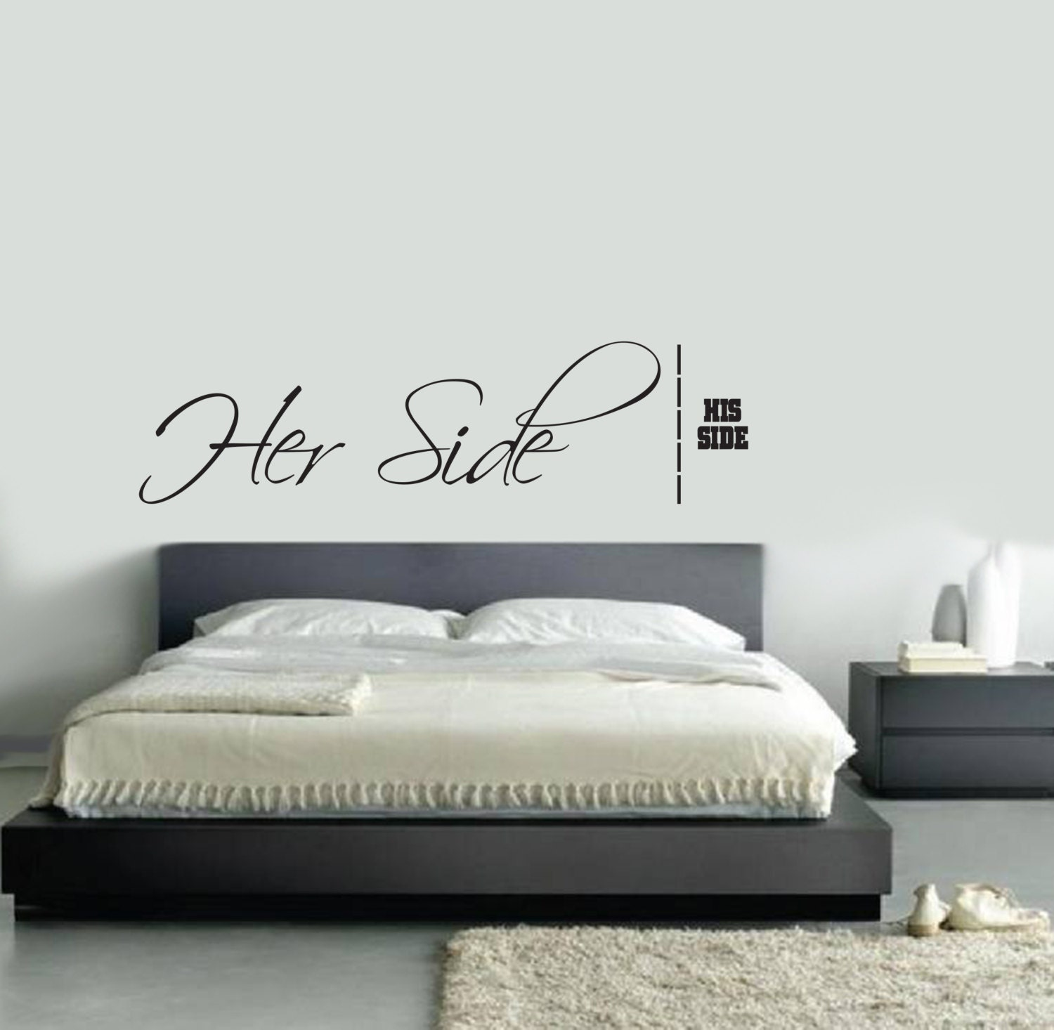 Her Side His Side Wall Decal master bedroom living room