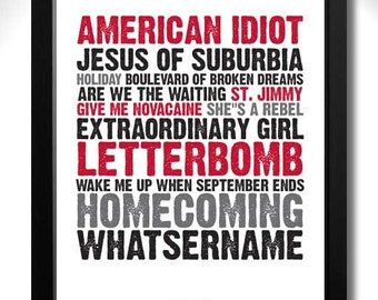 GREEN DAY - American Idiot Album Limited Edition Unframed A4 Art Print with Song Titles