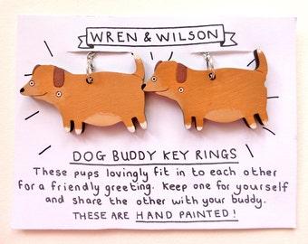 Best Friend Key rings - Cute dogs. Unique funny valentines / galentines gift. hand painted, laser cut. Friendship boyfriend keychain