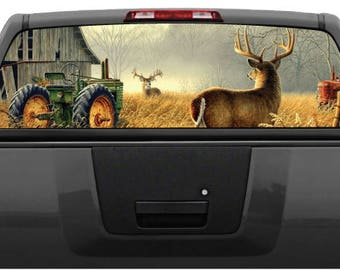 Whitetail Buck Deer Farm Scene Rear Window Graphic Decal For Truck SUV  (Perforated)