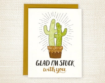 Anniversary Card, Love Card, Roommate Card - Stuck with You