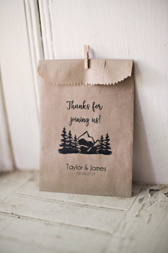 Thanks For Joining Us- Favor Bags - Wedding Favors - S'Mores Bag - Camping - Mountain Wedding - PNW - 4 x 6 inch Kraft Paper Rustic Bags