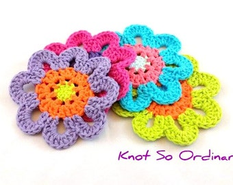 Drink Coasters, Flower Coasters, Crochet Coasters, Large Coasters, Place Setting, Colorful Decor
