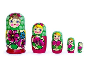 "6"" Set of 5 Maydanovskaya in Green Scarf Russian Nesting Dolls Matryoshka"