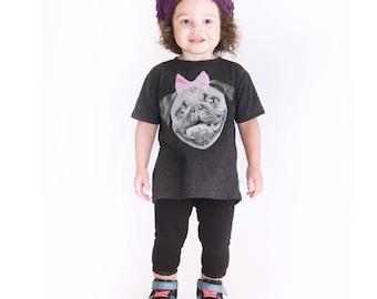 Kids Pug Shirt - T-Shirt. Childrens Pug Shirt. Children/Toddler T-Shirt in Sizes 2,3,4,5/6 T