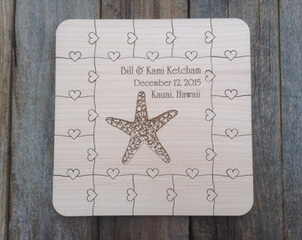 CUSTOM 16 pcs Beach Wedding Guest Book Puzzle with Heart tab pieces