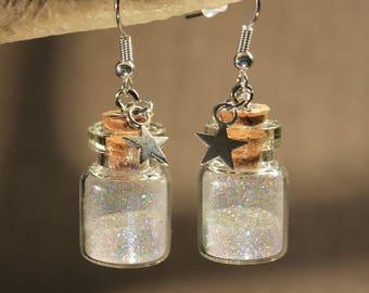 """Glitter vials earrings """"winter"""" fantasy, Christmas"""