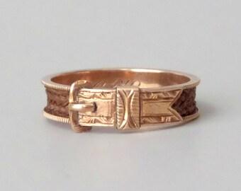 Antike viktorianische Schnalle Ring. 14k Rose Gold. Geflochtene Haare. Größe 7,5