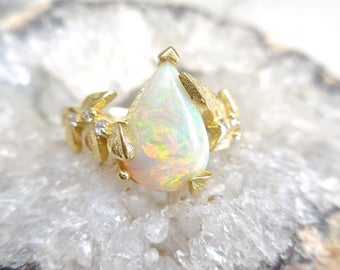 Australian Pear Opal Ring With Diamond Accents - Solid Opal, Leaf Ring, Nature Inspired, October Birthstone, 18k Yellow Gold