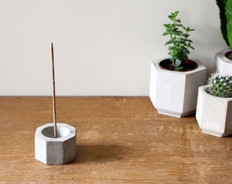 Geometric Concrete Incense Burner / Octagonal Cement Incense Stick Holder / Handmade