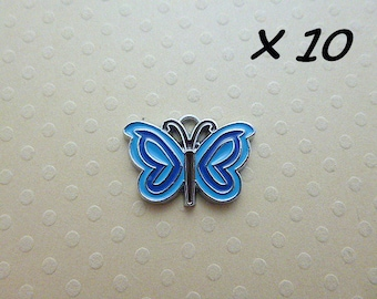 Set of 10 charms enameled butterflies 14 x 19 mm - L606