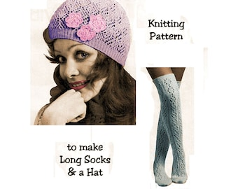Instant Download PDF Knitting Pattern to make a Lacy Beanie Hat Juliet Cap Long Over Knee Socks Stockings 4ply & 3ply yarns All Womens Sizes