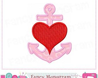 Valentine applique,Anchor applique,Valentine Anchor design,Anchor,Valentine Heart applique,Valentine's day,Anchor applique,.