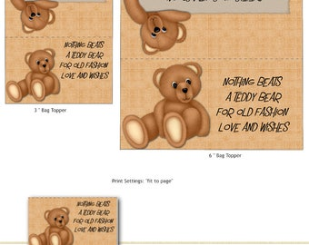 PRINT YOUR OWN Teddy Bear Hugs Bag Toppers