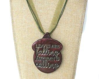 Autumn Leaves Falling / Handmade Necklace / Wine Acorn Pendant / Women's Christmas Gift Ideas / Girlfriend Gift Ideas / Statement Jewelry