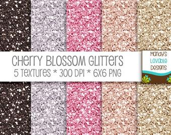 SALE - Digital Glitter Paper Textures - Scrapbooking Cards Invitations - Printable - High Resolution - Cherry Blossom - 300 dpi - CU OK