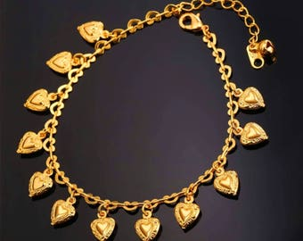 Gold plated foot bracelet  summer Jewelry  heart anklet