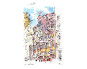 Casa Batlló PRINT / Antoni Gaudí. Eixample, Barcelona / drawing Barcelona