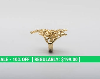 Large Gold Ring – Mesh Ring Design in 14K Gold Plated over Solid Sterling Silver