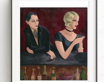 1920's Vintage Lesbian Speakeasy Fine Art Print by Artist CE Turner