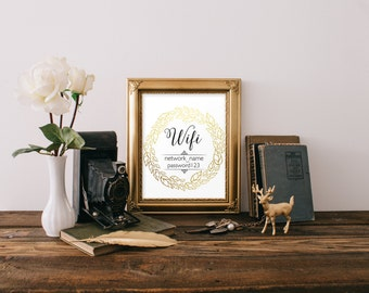 "Digital Download Gold Print ""Wifi Password"" Typography Word Art Wall Decor Guest Bedroom Internet Password"