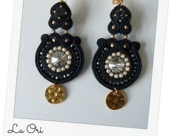 """soutache earrings black """"ELEONORA"""""""