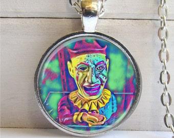 Scary Clown Necklace, Pop Art Jewelry, Creepy Clown Pendant
