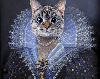 Princess Anne of Austria - Nala Cat - Custom Pet Portraits - Dog Portraits & Cat Portraits