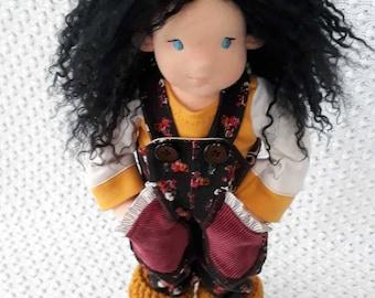 "Waldorf doll, natural fiber art doll, Waldorf inspired doll, 12"" doll, handmade Waldorf doll, organic Waldorf doll"