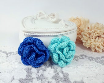 2 Blue Crochet Roses, Applique Roses, Blue Crochet Embellishments, Sewing Roses, Blue Patch Roses, Scrapbook Roses, Blue Fabric Flowers