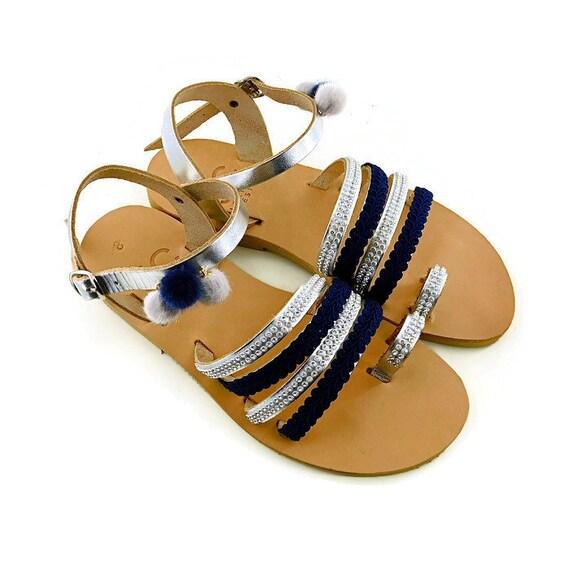 flats Pom Leather Decorated Sandals Sandals BOHO Sandals Sandals Greek Comfortable sandals pom Wedding Sandals sandals Blue qgqf4