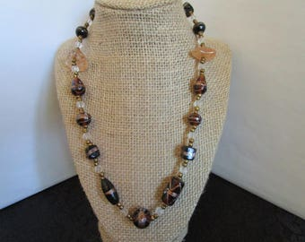 Assorted Brown Glass Beaded  Necklace