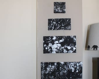 To the Moon-Pyramid Painting -Set of Five - Canvas Wall art - Acrylics On Canvas - Original Art - Abstract Painting-Black and white