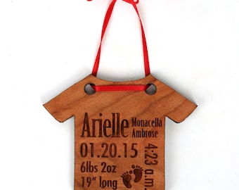 Personalized Baby Christmas Ornament - Baby's First Christmas Ornament and Gift. Birth Stat's Ornament, custom baby ornament