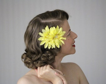 "Yellow Flower Clip, Floral Hair Clip, Yellow Hair Accessory, 1950s Hair Flower, Vintage Flower Hair Clip, Lemon Yellow - ""Citron Sunrise"""