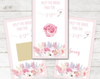 Personalized with Bride's Name Set of 12 Scratch Off Game Cards for Bridal Wedding Showers with Watercolor Spring Lilacs in Pink SCB8027