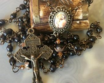 Beautiful Vintaj Brass Wire Wrapped St. Joseph Rosary! Lovely, Durable...